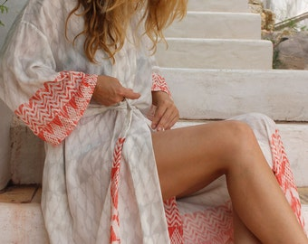 Pearl & Flame Organic Cotton Long Kimono Dressing Gown