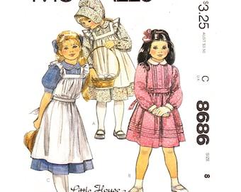 Girls Prairie Dress, Pinafore Pattern McCalls 8686 Pin Tucks Peter Pan Collar Long Sleeves  Girls Size 8 Vintage Sewing Pattern UNCUT