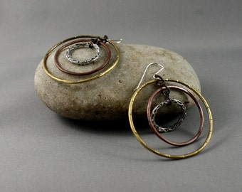 Boho dangle earrings. Big hoop earrings. Large hoops. Mixed metal earrings.