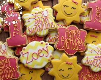 You are my sunshine birthday cookies