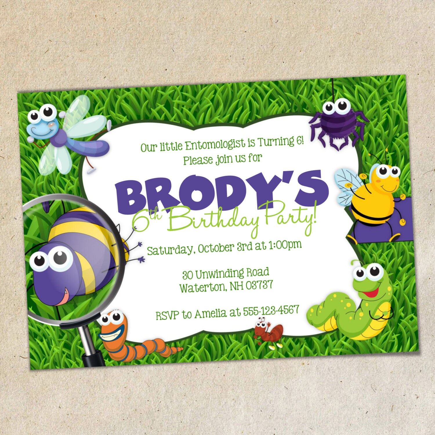 Bugs Party Invitation TEMPLATE Insects / Bug Party Invite