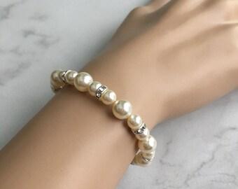 Bridal bracelet - bridesmaid bracelet - pearl bracelet - wedding bracelet - wedding jewelry - Swarovski crystal - Claire bracelet