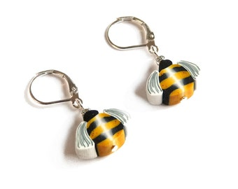 BEE earrings, small Honeybee insect Jewelry Dangle earrings, gift idea for a girl, miniature bees, 925 Sterling Silver, polymer clay animals