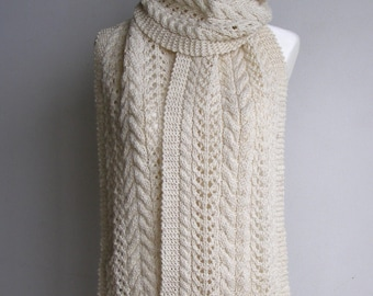 Oatmeal Pure Wool Hand Knitted Cable & Lace Scarf - 'Allegra'.