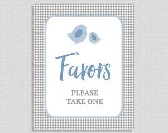 Favors Please Take One Sign, Blue & Grey Gingham Baby Shower Favor Sign, Little Birdie, INSTANT PRINTABLE