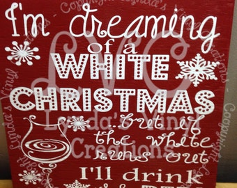 White Christmas wine sign