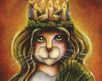 Saint Lucy Calico Cat, Santa Lucia Cat Wearing Candle Wreath Fine Art Print 8x10