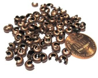 100pcs Antique Copper Crimp Beads Covers