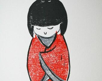 Linocut print   Japanese woman