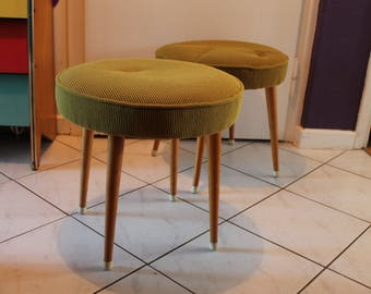 Fantastic 50s Original Vintage Stool Tabouret Mid Century Modern Design Solid Space Age Object Mustard Corduroy Upholstery Seat 1960s 60s