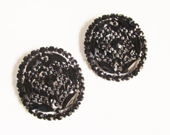 Pair Victorian French Jet Mourning Brooches 1800s Large Black Sister Brooches