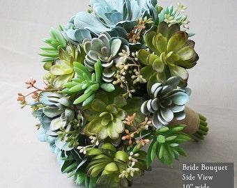 Green tones, mint, robins egg blue, artificial succulent bouquet, Real Touch flowers, silk wedding flowers