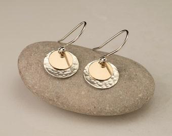 Sterling Silver Hammered Disc Earrings- Gold Disc Earrings- Silver Gold Earrings- Everyday Dangle Earrings- Small Disc Earrings