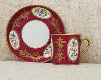 Peint a la Main, Limoges Demitasse Cup and Saucer,  Antique from the 1890's.