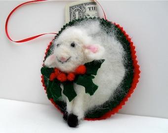 animal ornament, needle felted lamb