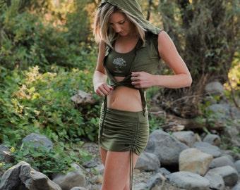 Cinch Skirt Iin Sage/Yoga Skirt/Green Mini Skirt/Booty Skirt/Green Skirtt/Boho Skirt/Hippy Skirt/Festival Skirt/ Skirt/Yoga Street Wear/Yoga