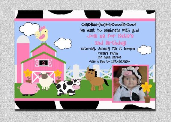 Barnyard Birthday Invitation Farm Birthday Party Invites