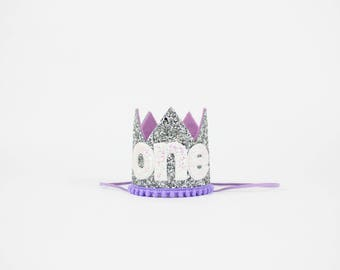 First Birthday Crown | 1st Birthday Girl Outfit for Cake Smash | Baby Girl First Birthday Outfit | 1st Birthday Hat | Silver Purple White