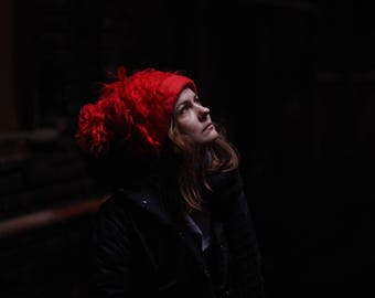 """Felted hat """"Red Witch"""" Hat with ears Hat with curls Women hat"""