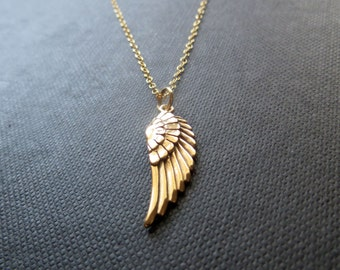 Personalized angel wing necklace memorial initial necklace angel wing necklace gold angel wing charm necklace angel wing pendant aloadofball Choice Image