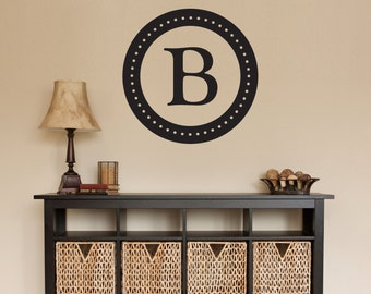 Personalized Initial Circle Wall Decal - Last Name Initial Decal - Large