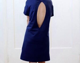 T dress T-shirt dress Open back dress Women's dress Women's tunic Cotton dress Navy blue dress Blue tunic Open back Oversized dress