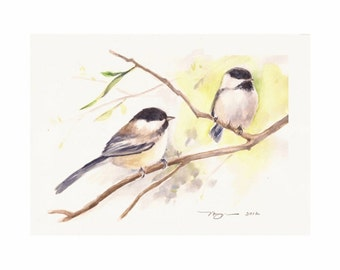 """Chickadees, Print of Watercolor Painting, 10""""x8"""" or 7""""x5"""""""