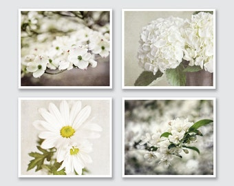 Cream Flower Print Prints or Canvas Set, White Flower Prints Set of 4 Flower Prints, Shabby Chic Decor Set, Cottage Chic Art.