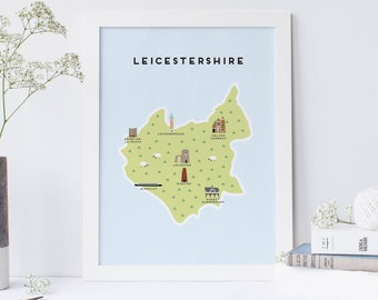 Map of Leicestershire - Illustrated Map of Leicestershire Print / Travel Gifts / Gifts for Travellers / United Kingdom / Great Britain