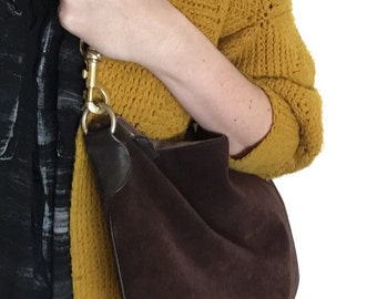 Extra large chocolate brown suede purse by I. Magnin