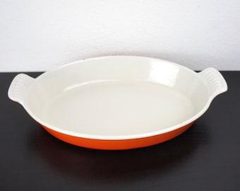 Vintage Orange Le Creuset Oval Au Gratin with Handles #24, Enameled Cast Iron, Shallow Roasting, Baking, Serving Pan 1950s France 210055