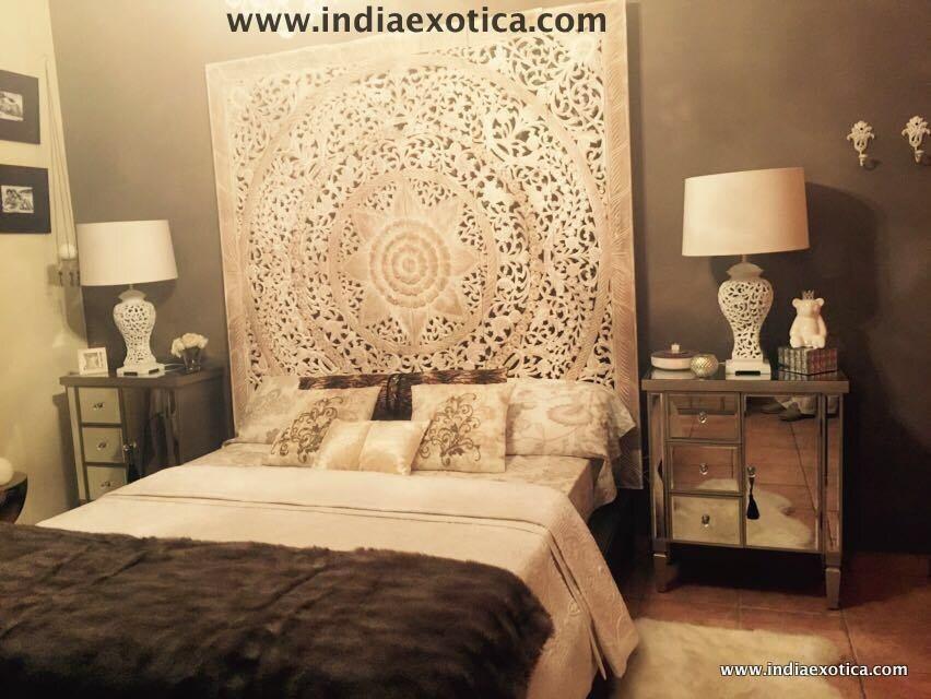 Bett Kopfteil geschnitzte teak wandbehang bettkopfteil weiß gewaschen