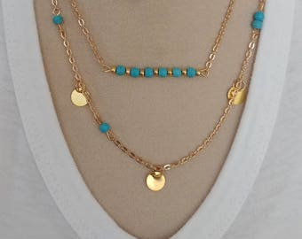 2 strand gold turquoise necklace - multi layered necklace - jewelry
