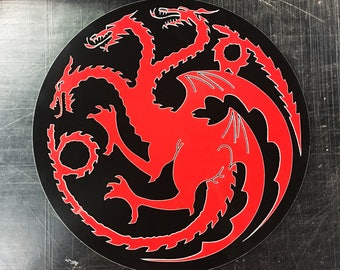 Game of Thrones House Targaryen three headed Dragon Sigil Metal Sign