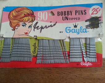 Vintage Dead Stock Original Card Stock Gayla Bobby Pins Untipped Silver Hair Styling 1960s
