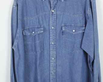 Vintage jeans shirt - denim - long sleeves - oversized