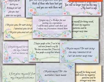 Forgiveness Affirmation Cards in a Floral Design