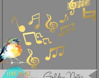 Gilded Digital Clip Art, Wedding, INSTANT download, Hand Drawn Illustrations, PNG, music, notes, gold, Digital Drawing, scrapbook