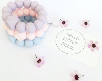 BASIC Teether HEXI - Pastel Silicone Teething Ring - Silicone Teether -  Modern Teething Toy - Silicone Bead Teething Ring