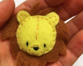 Hand embroidered felt brooch -Maya the Lion