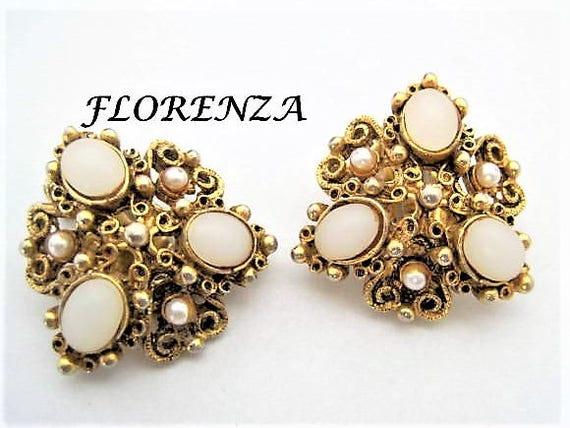 Florenza Earrings, White Moonstones,  Mid Century Rhinestone, Designer Clip Ons