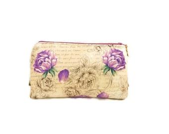 Cosmetic Bag, Purple Roses Makeup Bag, Flat Bottom Cosmetic/Knitting/Crocheting Bag, Medicine Tote