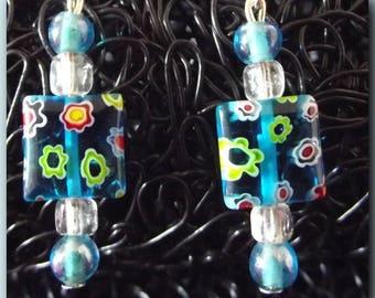 Earrings square green blue millefiori for sleeper