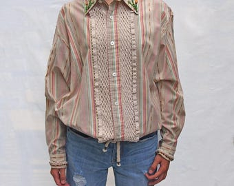 Reclaimed button down with vintage lace and beads. Size medium.