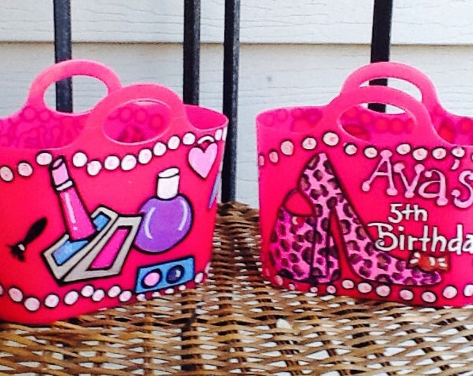Small party tote, girls party tote, party favors, girls makeup tote, makeup party tote, girls cheetah tote, animal print tote