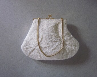 "1950s White Glass Beaded Evening Bag, ""Made in Hong Kong"""