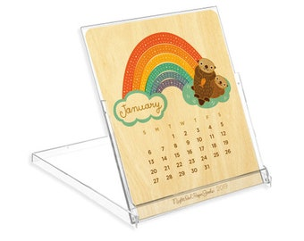 2019 Critters and Rainbows Real Wood Calendar - Great gift for animal lovers! - Cute & Sophisticated - WCAL046