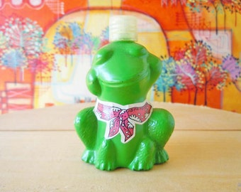 Vintage Green Glass Frog Avon Perfume Bottle Empty Figural Animal Decanter