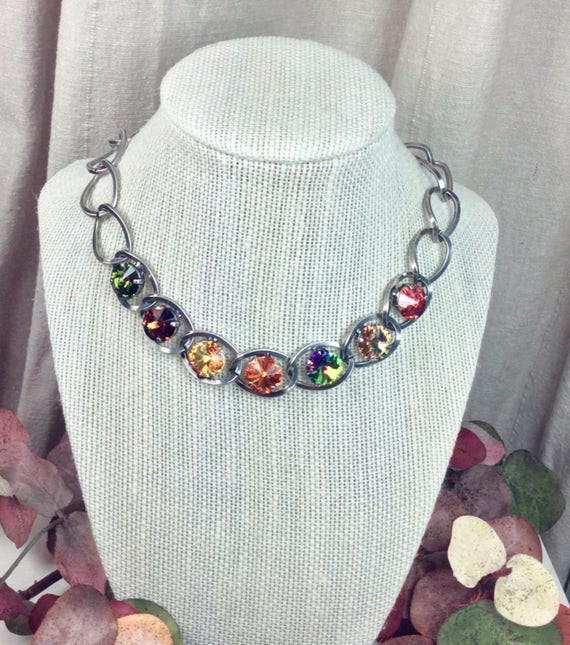 "Swarovski Crystal 12MM Necklace -  Designer Inspired - Chunky Chain and Sparkling Autumn Colors- Your ""Go To"" Fall Accessory - FREE SHIPPING"