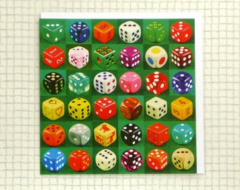 Dice | Greeting Card | Backgammon Dice | Dice Collection | Blank Inside | Lucky Dice | Throw of a Die
